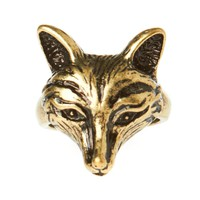 White Leaf Antique Fox Ring - Bronze