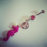 Pink Seahorse Belly Button Jewelry Ring- Mermaid Pearl Charm Long Dangle Sea Horse Navel Piercing Jewelry