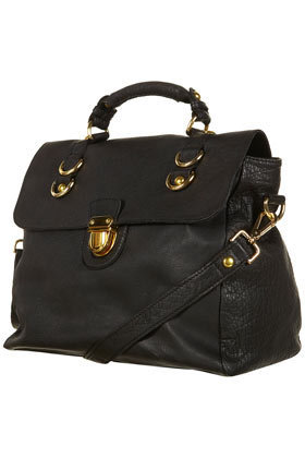 Black Leather Pushlock Satchel - Bags &amp; Purses - Accessories - Topshop