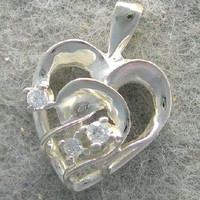 Genuine Diamond Heart Shaped Pendant In 10K White Gold