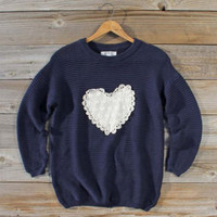 Follow Your Heart Sweater in Navy, Sweet Bohemian Sweaters