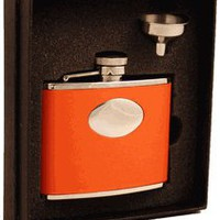 "Visol ""Sunbeam"" Orange Leather 4oz Flask Gift Set"