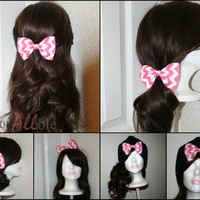 Pink and white chevron clip on Hair Bow