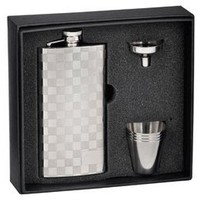 Visol Checkered Slim 5 oz Liquor Flask Gift Set - Free Engraving
