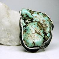 Turquoise Ring - Turquoise Raw Howlite Ring - Raw Gemstone Ring - Raw Stone Ring - Tiffany Technique