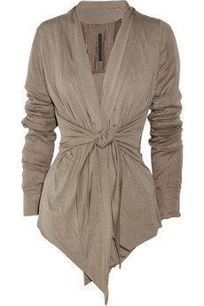 Rick Owens Lilies|Tie-front jersey cardigan|NET-A-PORTER.COM