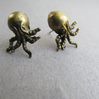 Brass Octopus Earrings by IrisJane on Etsy