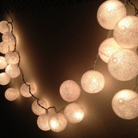 WHITE colors cotton ball holiday/Party String Lights 20 Lanterns