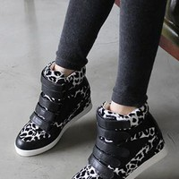 Black leopard print  strap high top from 2NDAPRIL