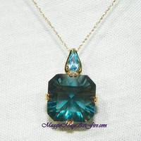 Blue Fluorite Square 8.25ct Gemstone Jewelry Necklace with Blue Topaz
