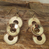 Steampunk Earrings   Multiple Gears  Dangling by ShellsNStuff