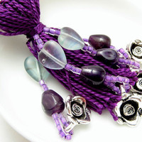 Amethyst and Silver Roses Purple Beaded Tassel by lizbethsgarden