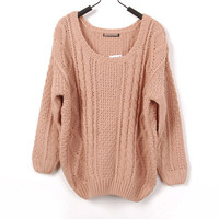 High Quality Designer Classic Solid Knit Loose Style Sweater