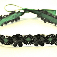 Beaded Sequin Headband Black Floral Emerald by SomethingColorful
