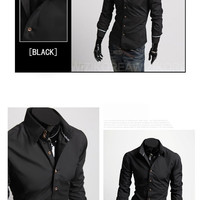 Three Button Collar Designer Slim Dress Shirt