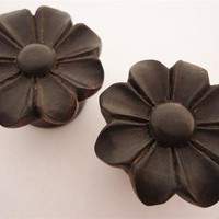 Urban Star Black Wild Flower Plugs (8 gauge - 1 inch)