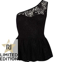 Black lace one shoulder peplum top