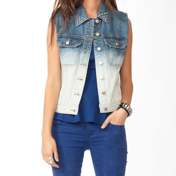 Studded Ombré Denim Vest