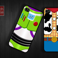 Case iPhone 4 Case iPhone 4s Case iPhone 5 Case idea case twin pair friend woody buzz lightyear team movie parody toy story