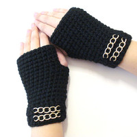 Crochet Fingerless Gloves, Black Gloves, Adult fingerless gloves, Wrist warmer, Winter gloves, winter gifts