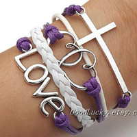 Jewelry Lovers bracelet Unisex  Fashion silver cross LOVE Heart,cross and love  Violet and white Wax rope Braided leather bracelet
