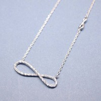 Infinity Knot Necklace with CZ crystals in Silver