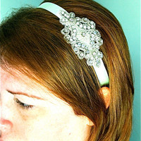 Rhinestone Headband Mint Green Ribbon by SomethingColorful on Etsy
