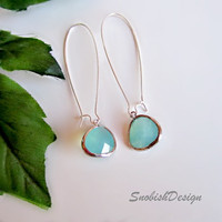 Drop Earrings  Long Aquamarine Earrings  March by SnobishDesign