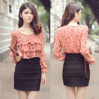 Chic Womens Flouncing Layered Stylish Dots Blouse Chiffon Trendy Mini Dress