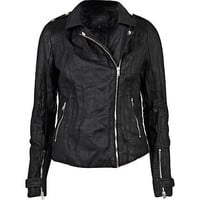 Black leather look pleat biker jacket