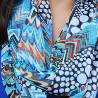Oh Sweet Spring Scarf: Blue/Orange | Hope's