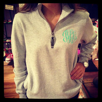 Monogrammed QuarterZip Sweatshirt by hadleyandfinn on Etsy
