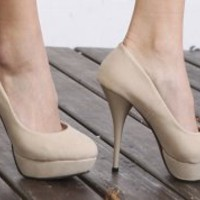 Wholesale Fashion All-match Waterproof High Heel Shoes Apricot