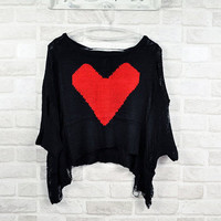 BIG HEART shredded crop top SWEATER