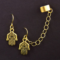 Hamsa Hand Chain Ear Cuff Earrings by Atelier Yumi by AtelierYumi