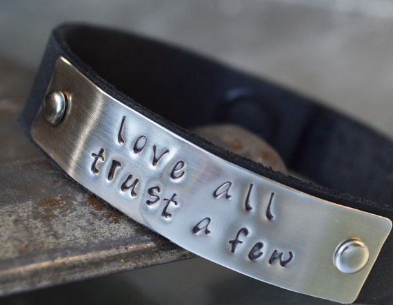 Custom Bracelet  Black Hand Stamped leather by GunmetalGems