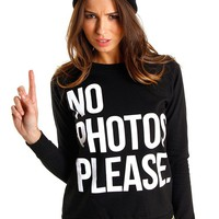 Black &#x27;No Photos&#x27; Jumper