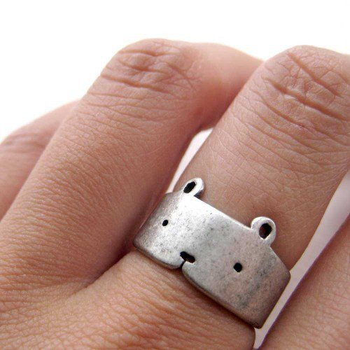 Simple Teddy Bear Ring in Silver - Adjustable Animal Ring | dotoly - Jewelry on ArtFire