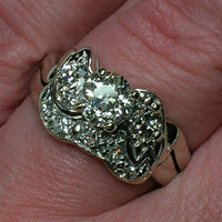 Vintage Wedding Ring Set 84 Old Mine Cut Diamond by AuldBaubles