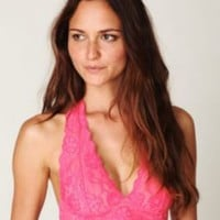 Intimately Free People Womens Galloon Lace Halter Bra -