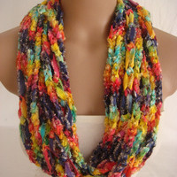 StOcK CleAranCe SaLe-50% OFF-WAS 19.90USD-Crochetted Scarf, Infinity Rope Scarf, Chain Scarf by Arzu's Style