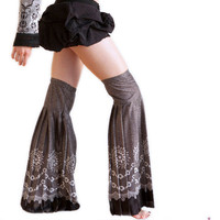 Thigh High Leg Warmers ,Black & White Polka Dot, Paisley and Flower Print Pleated And Flared