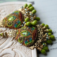 bright Neon colors -Lime Green and sparkle Clay floral earrings on brass filigree - Psychedelic Sunrise