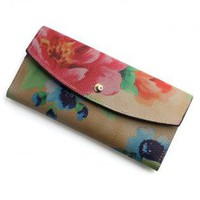 Floral Print Faux Leather Wallet
