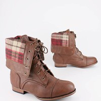 plaid cuff combat boot $33.70 in BROWN - Boots | GoJane.com