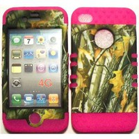 Amazon.com: Camo 2 Oak Tree on Pink Silicone Skin for Apple iPhone 4 4S Hybrid 2 in 1 Rubber Cover Hard Case fits Sprint, Verizon, AT&T Wireless: Cell Phones & Accessories