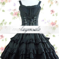 Black Ruffles Sash Bow Cotton Gothic Lolita Dress