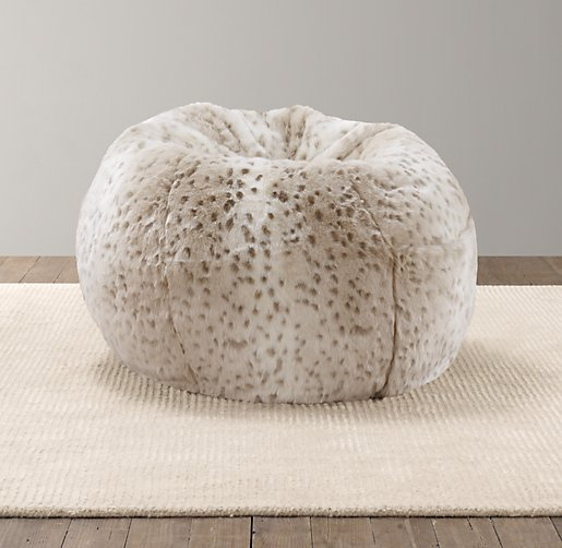 luxe faux fur bean bag from rh baby child home. Black Bedroom Furniture Sets. Home Design Ideas