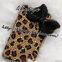 handmade bling diamond crystal leopard bow case cover for iPhone4 4S Lbow19