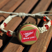 Red and Gold Miller High Life Recycled Beer Cap Hemp Fully Adjustable Size Bracelet - Beach, surfer, christmas stocking stuffer